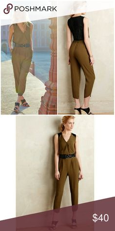 ANTHROPOLOGIE Leiffsdottir Jumpsuit Flattering and sexy fit, chiffon and lace in olive and black. Perfect for work, every day wear, or a night out, and even has pockets! Great used conditon, no flaws, missing size tag but fits size 4 to 6. Belt not included. Anthropologie Pants Jumpsuits & Rompers