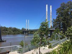 Brisbane River and the Green Bridge at St Lucia, Brisbane, QLD