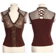 Women Brown Lace Sleeveless Steam Punk Gothic Tops Blouses Clothing SKU-11409224