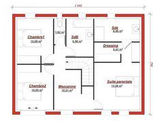 Plan étage Dauphine 130 - Cette grande maison de famille présente une façade harmonieuse et lumineuse avec une toiture quatre pans.  Le rez-de-chaussée propose une entrée accueillante, un bureau, un vaste séjour/salon avec accès direct à la cuisine et son cellier. L'étage réuni trois chambres dont une suite parentale avec dressing et salle d'eau privative et une salle de bains. Small House Design, Modern House Plans, Good Company, Sweet Home, Floor Plans, Deco, Flooring, How To Plan, Architecture