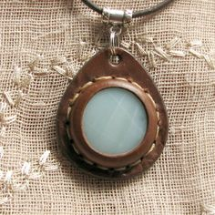 Amazonite Stone and Leather Pendant Necklace - an Aos Original Earth Medallion