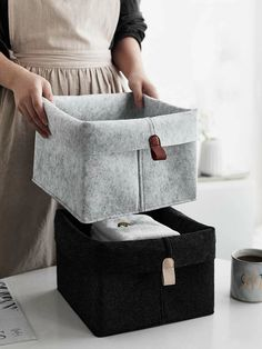 To find out about the Felt Storage Basket at SHEIN, part of our latest Storage & Organization ready to shop online today! Metal Storage Racks, Diy Storage Boxes, Hanging Storage, Storage Baskets, Felt Diy, Felt Crafts, Diy And Crafts, Underwear Storage, Creation Couture