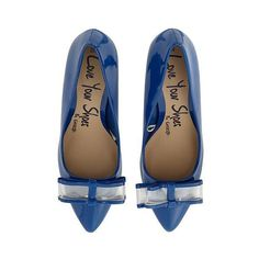 Patent Bow Shoes Blue Women George at Asda ($24) ❤ liked on Polyvore