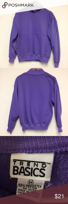 Vintage 1990s purple polka dot sweat shirt Vintage 1990s purple polka dot sweat shirt. Weird discoloration on back of neck. Otherwise great condition. Traditionally labeled a women's size M. Could fit up to a L. Vintage Tops Sweatshirts & Hoodies