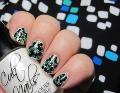 Lit From Within:  stamped dotticure with swimsuit background