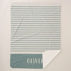 Farmhouse Blue Linen Stripes Monogram Sherpa Blanket