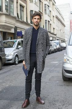 Men's Charcoal Plaid Overcoat, Navy Shawl Neck Sweater, Black Dress Pants, Dark Brown Leather Chelsea Boots