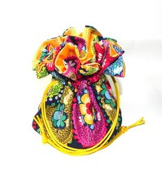 Jewelry Drawstring Travel Bag - Organizer bridal Pouch  -  Multicolor flower Damask by GaranceCouture on Etsy