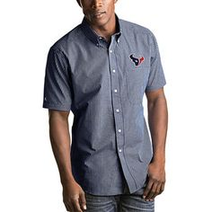 Men's Houston Texans Antigua Navy League Woven Button-Down Shirt