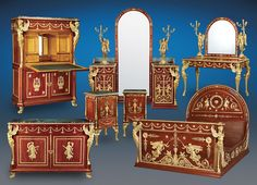 This extraordinary mahogany and mercury-gilded bronze bedroom suite was once owned by the last Egyptian monarch, King Farouk. Luxuriously decorated in the Empire style, this important set was crafted by one of the premier Parisian ébénistes of the 19th century, Antoine Krieger (fl. 1826-1856). The seven piece suite comprises a queen-size bed, <em>secrétaire à abattant</em> (drop-front secretary) with a satinwood interior, cheval mirror with side tables, two-door cabinet, vanity and two…