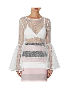 6059358950f8 Women's Tops | Tanks, T-Shirts & Sweatshirts | David Jones - Lace Outline  Circle Sleeve Top