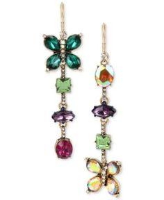 Betsey Johnson Gold-Tone Crystal Butterfly Mismatch Earrings - Multi