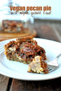 Over-the-top Delicious Pecan Pie without Corn Syrup | Nosh and Nourish. Originally vegan- calls for flax eggs but I get you could sub real eggs. Uses maple syrup, apple cider, coconut sugar, vanilla extract, molasses, etc. for sweetening. Gluten free and paleo. Bakes for 40 min but must cool an hour before slicing.