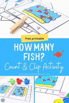 This preschool ocean counting activity works on counting and number recognition. Simply count the fish and mark the correct number using a clothespin or other small object. #preschool #counting #numbers #math #printable #activity #3yearolds #4yearolds #teaching2and3yearolds Ocean Activities, Math Activities For Kids, Counting Activities, Preschool Literacy, Fun Math, Toddler Preschool, Time Planner, 3 Year Olds, Alphabet Cards
