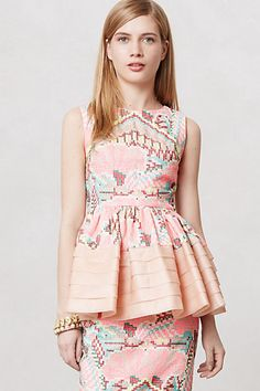 Daksha Stitched Blouse ($298) - I love the spring colors and unique stitched detailing. My favorite part is the tiered peplum. Absolutely adorable! #anthropologie