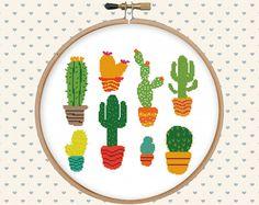 Cactus cross stitch pattern  cute cross stitch  cross stitch