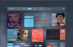 Try out this sample kit from PixelKit for an elegant UI kit. This sample kit includes styles and designs for icons, buttons, media players and more. Ui Design, Modern Design, App Design Inspiration, Ui Kit, Mobile Design, Multimedia, Futuristic, Designers, Elegant