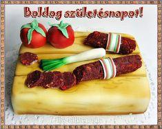 születésnap, képeslap, szalonna-torta