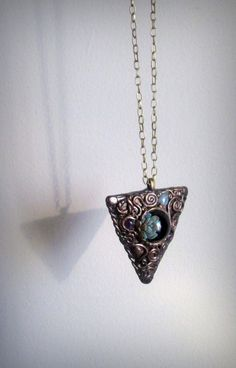 Blown Glass and Antiqued Polymer Clay Celtic Pendant Necklace with Aquamarine and Amethyst Accents by dreamsofancientsun.  A superb mystical talisman necklace mounted on a 20'' antiqued bronze chain. Handmade and one of a kind!