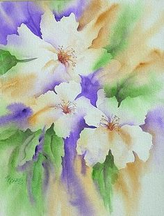 White Flowers by Martha Kisling - Beautiful how the artist left the white and included a hint of color within them.