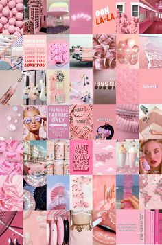 WALL COLLAGE KIT Peach Pink Collage Kit Photo Wall Collage Aesthetic Room Decor Dorm Wall Decor Pink Wall Art Digital Download 49Pcs