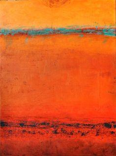 "PEGGY HINAEKIAN - ""Red Desert Sunset"". Acrylic On Canvas. 48"" x 36"""