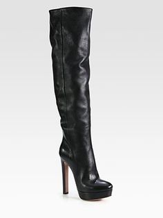 Prada - Leather Over-The-Knee Platform Boots - Saks.com
