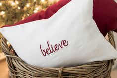 Image of 12 x 16 Ivory Linen Pillow Cover embroidered with believe