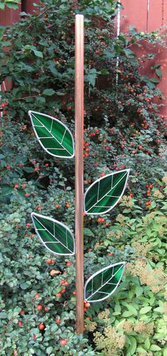 Copper Stem, Rebar Cover, For Your Plate Flower with Stained Glass Leaves on Etsy, $45.00