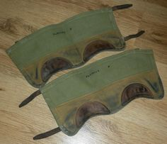 WW2 ERA BRITISH ARMY PAIR OF MILITARY CANVAS & LEATHER ANKLE GATORS