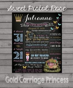 Golden Carriage Princess Birthday Board  First by SweetPistolRose