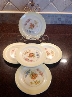 7 Vintage Royal Dresden Chintz bread / dessert by Lulubellebazaar, $22.00