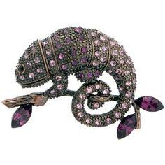 Vintage Style Amethyst Chameleon Reptile Austrian Crystal Purple Animal Pin Brooch $15.59