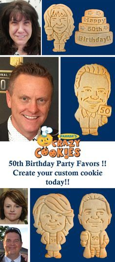 Give a one of kind gift for your 50th birthday celebration! Create a custom cookie of them today! Discover the magic at www.parkerscrazycookies.com. As seen on the food network and today show!