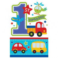 Invite family and friends to your little guy's 1st birthday party with these colorful All Aboard party invitations. Space for where, when, what time, and RSVP and includes envelopes for delivery. Incl