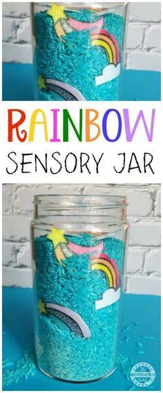 rainbow bar sensory bottle or sensory jar idea! #kidsactivities #sensory #sensoryactivities #funforkids #kids #preschool #kindergarten #classroom #jar #discover #explore #kidsactivity #rice
