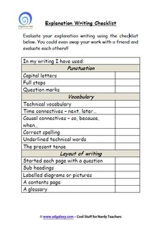 explanation tool checklist is a great resource for students to evaluate their understanding of writing explanation texts through awareness of punctuation vocabulary and layout of their writing. Don't forget the labelled diagram Stages Of Writing, Writing Genres, Expository Writing, Paragraph Writing, Informational Writing, Writing Resources, Writing Activities, Writing Ideas, Writing Prompts