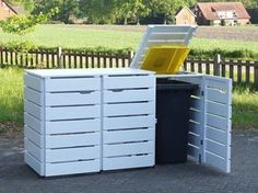 3er Mülltonnenbox aus Holz, für 120 L & 240 L Tonnen, Farbe: Deckend Geölt Weiß