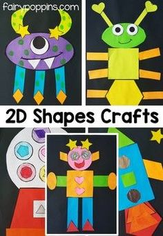 Feb Crafts for your preschool classroom. Fun craft projects for kids. Paint, paper, glue, scissors and more for tons of crafting fun! 2d Shapes Activities, Shapes Worksheets, Art Activities, Learning Shapes, Fun Crafts For Kids, Projects For Kids, Art For Kids, Summer Crafts, Art Projects