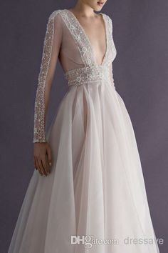 New elegant chiffon A line prom dresses long lace sleeves floor length formal evening gowns