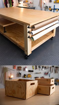 My workshop needed a table to serve as the basis for work and play. Watch as I design my dream table and bring it to life! For storage within the table, I'll. Craft Tables With Storage, Craft Room Storage, Table Storage, Storage Boxes, Craft Room Tables, Ikea Craft Room, Small Craft Rooms, Art Storage, Paper Storage