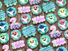 Joy of Baking Boys First Birthday Party Ideas, Wild One Birthday Party, Girl 2nd Birthday, First Birthday Parties, Birthday Celebration, Shark Cookies, Shark Party Decorations, Shark Family, Baby Shark