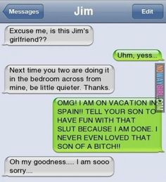Why is Jim's mom named Jim. FAAAKE<< using his phone??