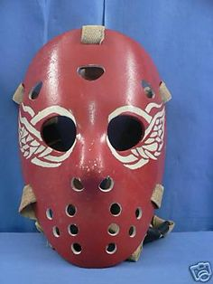 Old school hockey mask. Detroit Red Wings