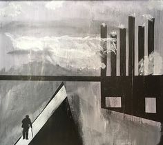 """""""Man at Storm Wall, Old Industrial Hartlepoole, England,"""" acrylic on wood, scraped, polished. Inspired by my Granddad John Lyons of this town in the north and Rod Greenwood, my English friend."""