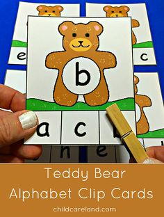 Teddy bear alphabet clip card for letter recognition and fine motor development.