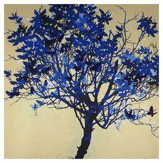 Prints of the contemporary artist Henrik Simonsen Flower Art, Art Flowers, Silk Screen Printing, Abstract Flowers, Tree Art, Contemporary Artists, Monochrome, Illustration, Nature