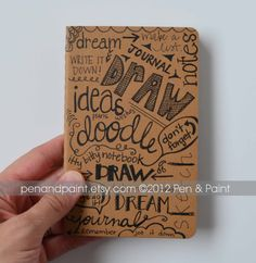Hand Drawn Notebook Journal Diary Sketchbook Idea by penandpaint, $13.50