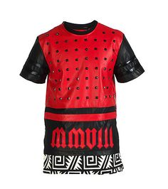 ROLLING PAPER Polyurethane top Short sleeves Pyramid shaped studs throughout Zipper detail on both sides Tribal print hem