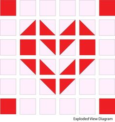 Exploded view of the Playful Hearts block
